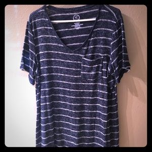 Navy striped Maurice's summer knit top - NWOT
